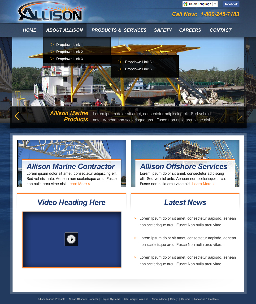 A maritime web design screenshot for a company in Houston TX