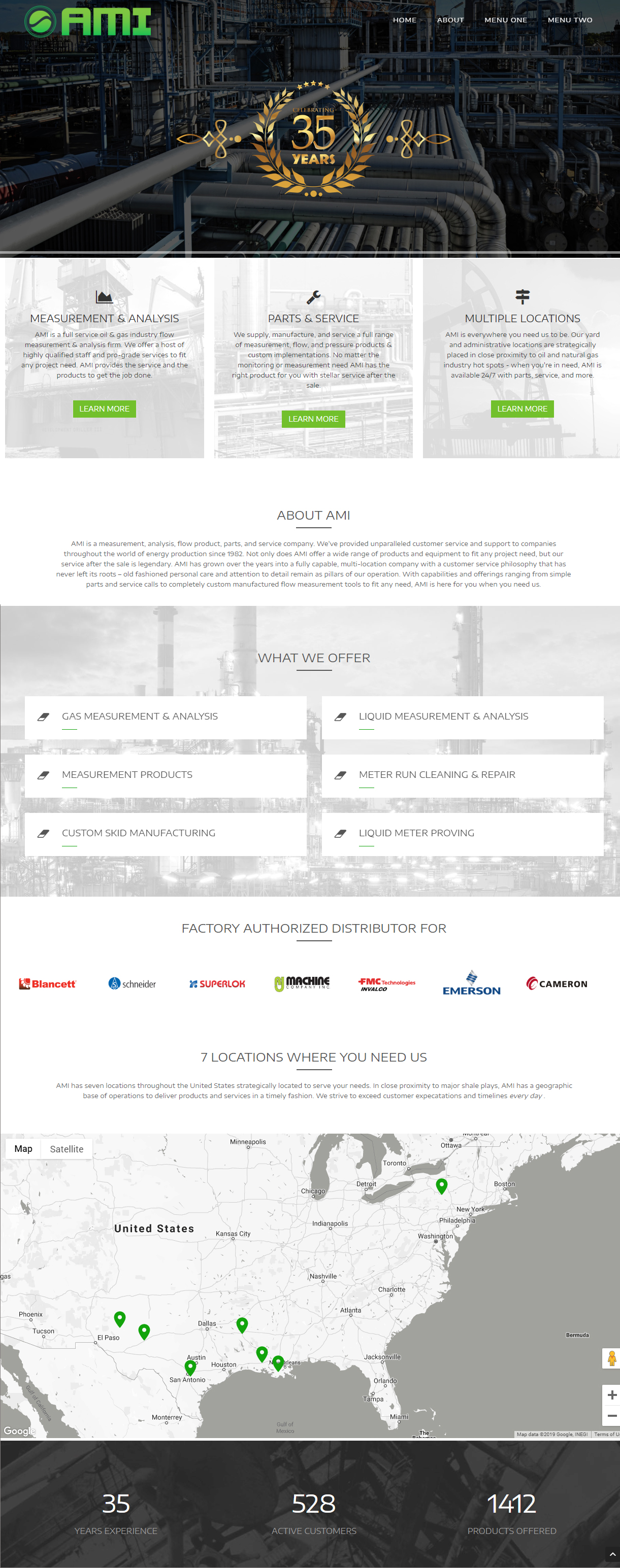 An oil and gas measurement company web design screenshot for a company in Houston TX