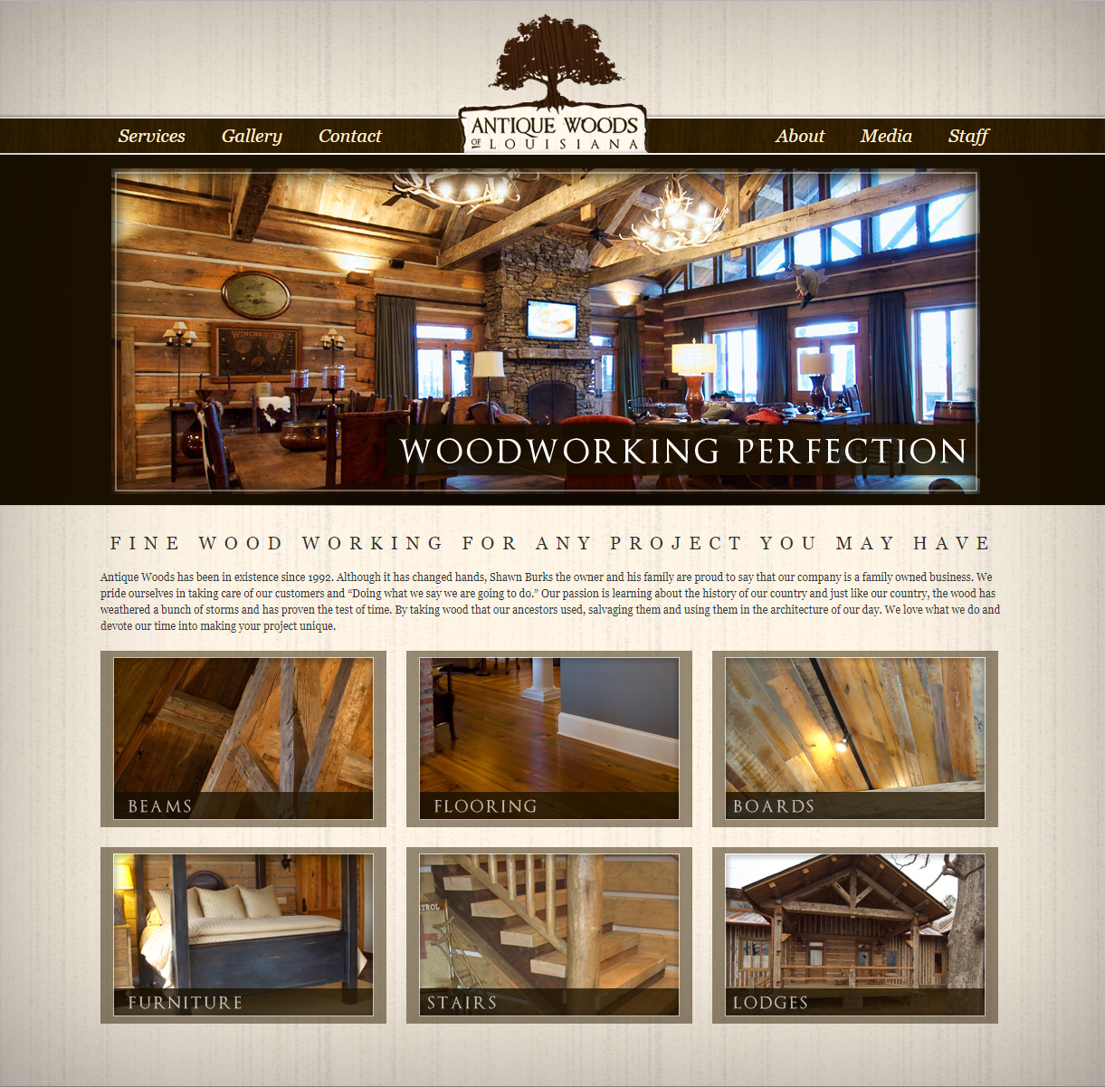 A woodworking web design screenshot for a company in Houston TX