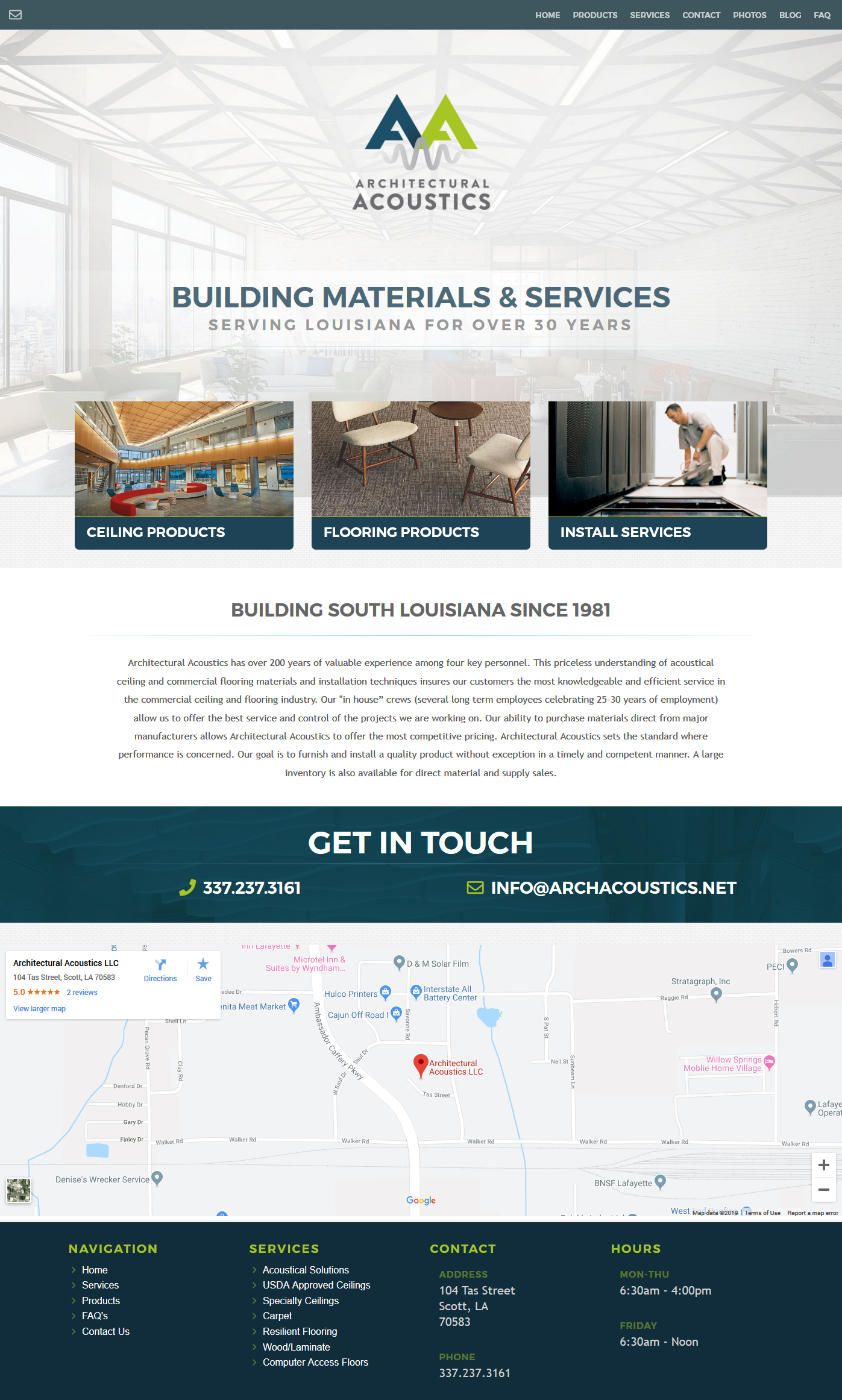 An Architectural supplies web design screenshot for a company in Houston TX