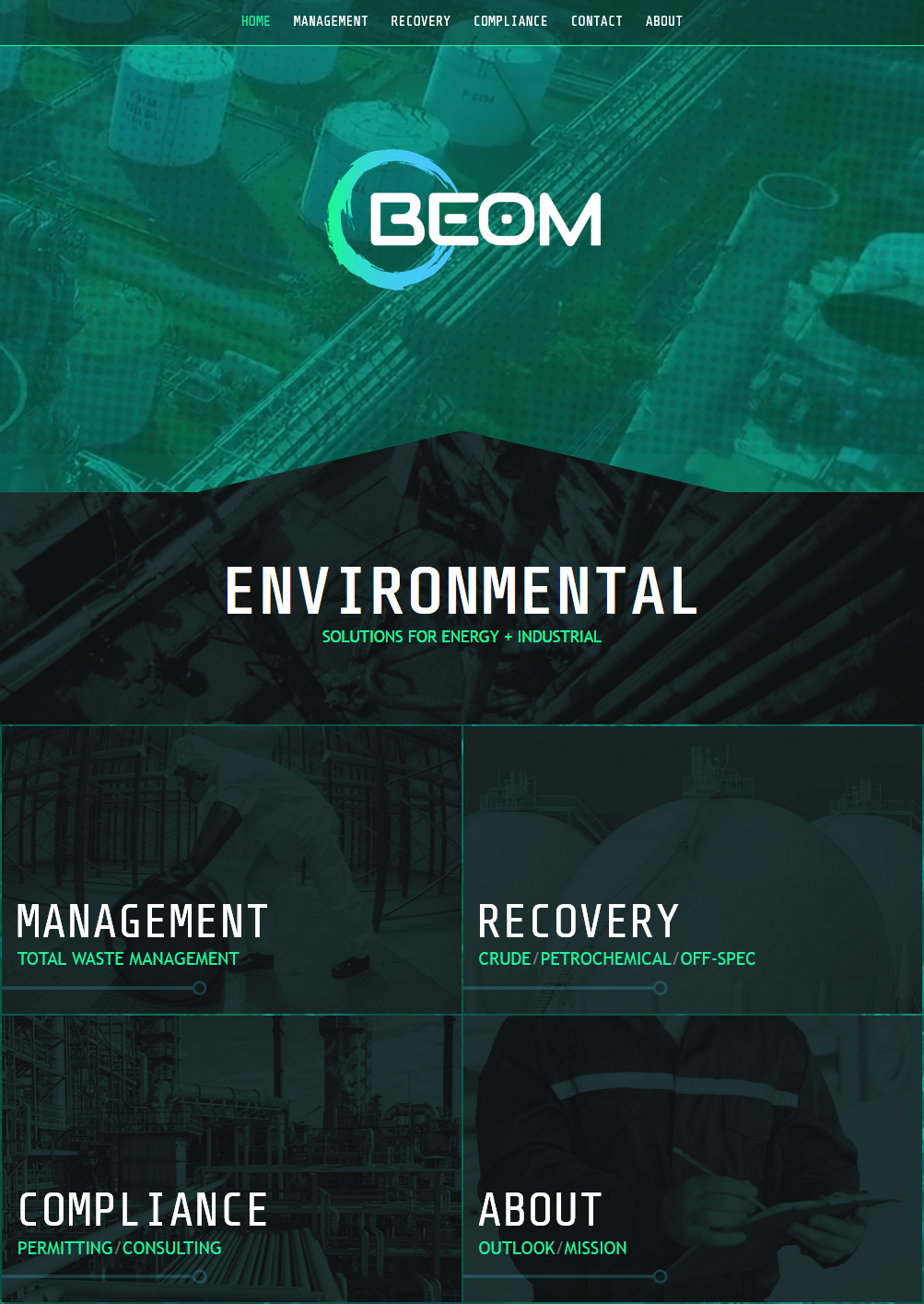 An oil and gas environmental web design screenshot for a company in Houston TX