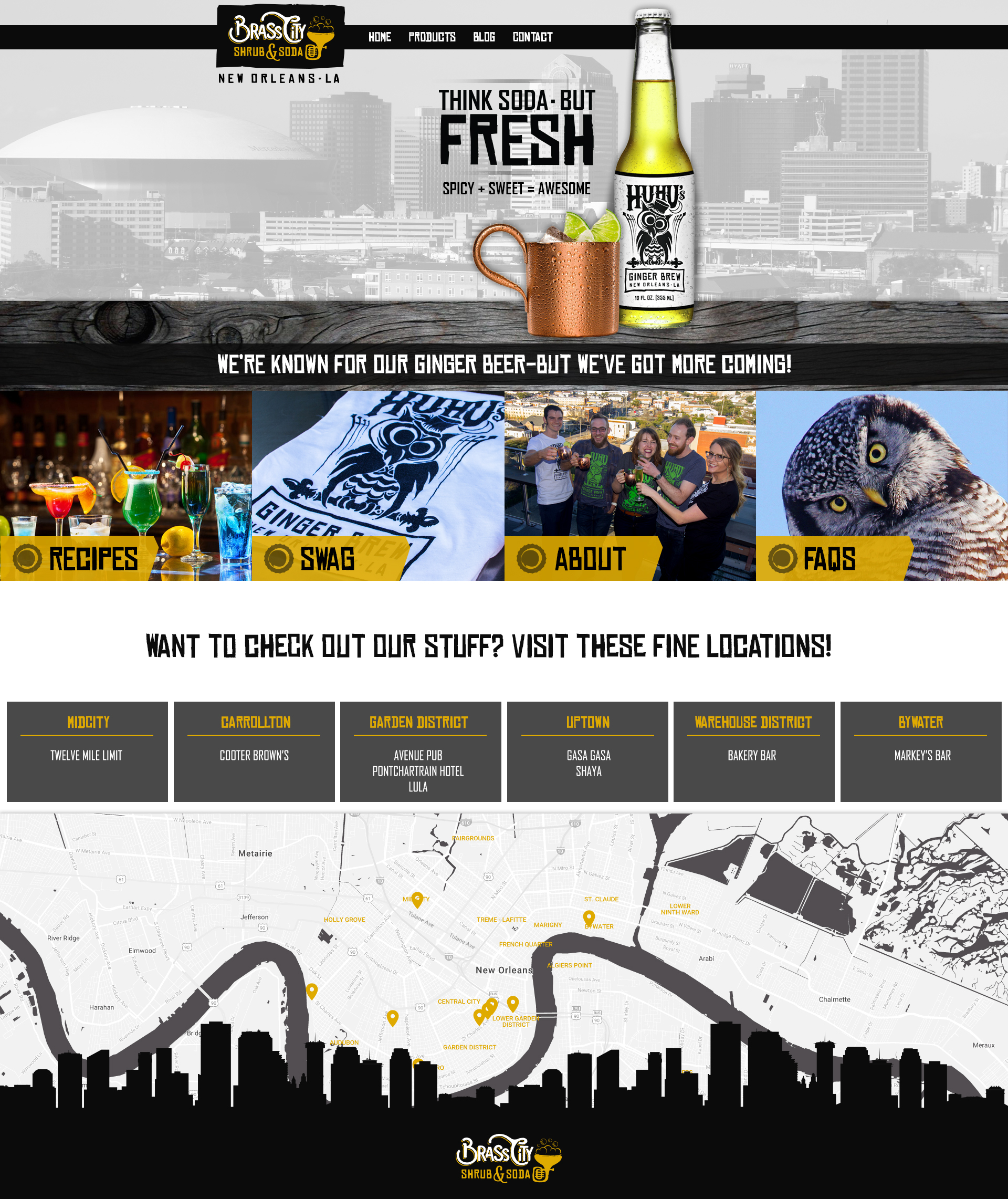 A ginger beer web design screenshot for a company in New Orleans LA