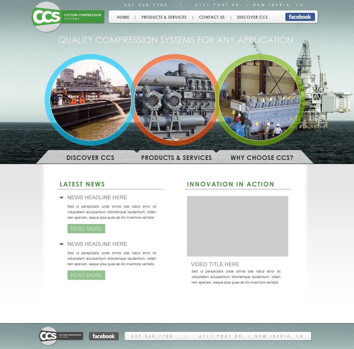 An oilfield company web design screenshot for a company in Houston TX