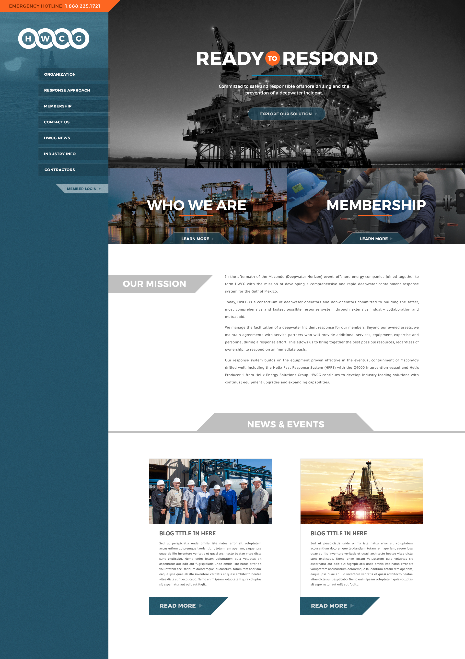 An oil and gas business web design screenshot for a company in Houston TX