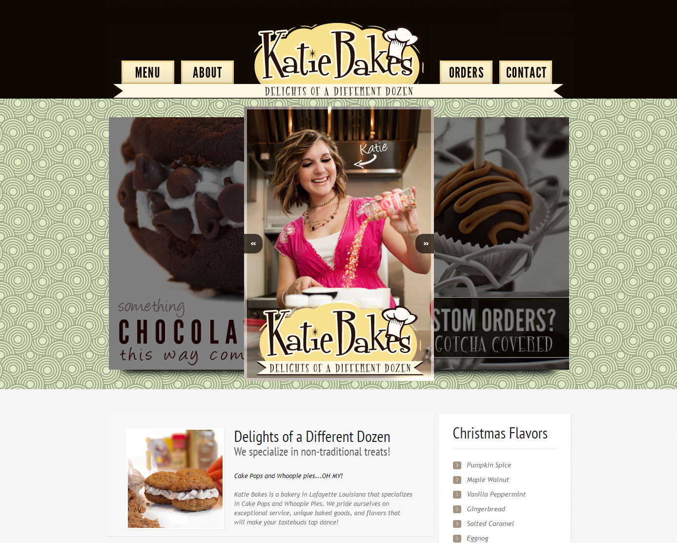 A bakery web design screenshot for a company in Houston TX