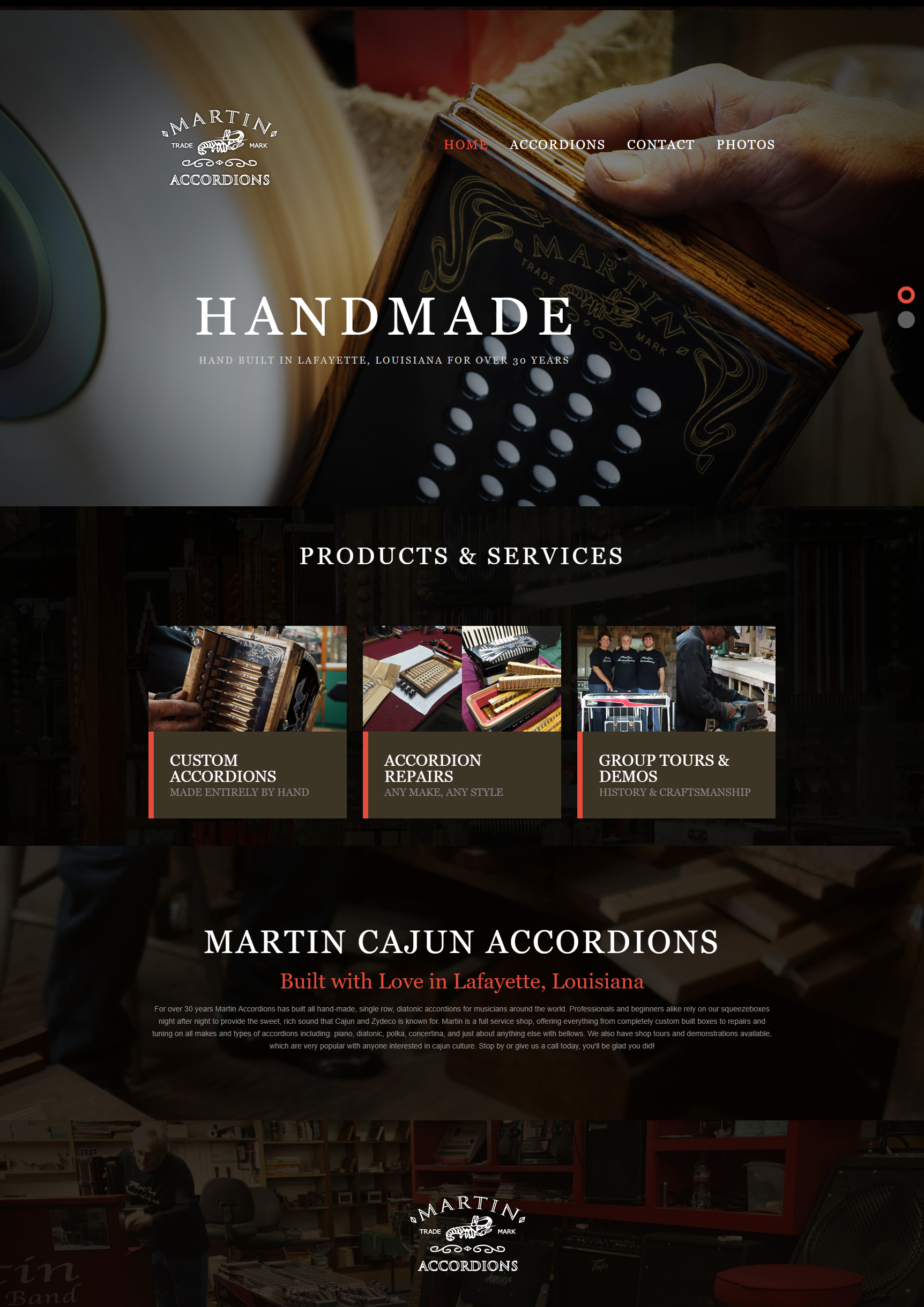 An accordions web design screenshot for a company in Houston TX