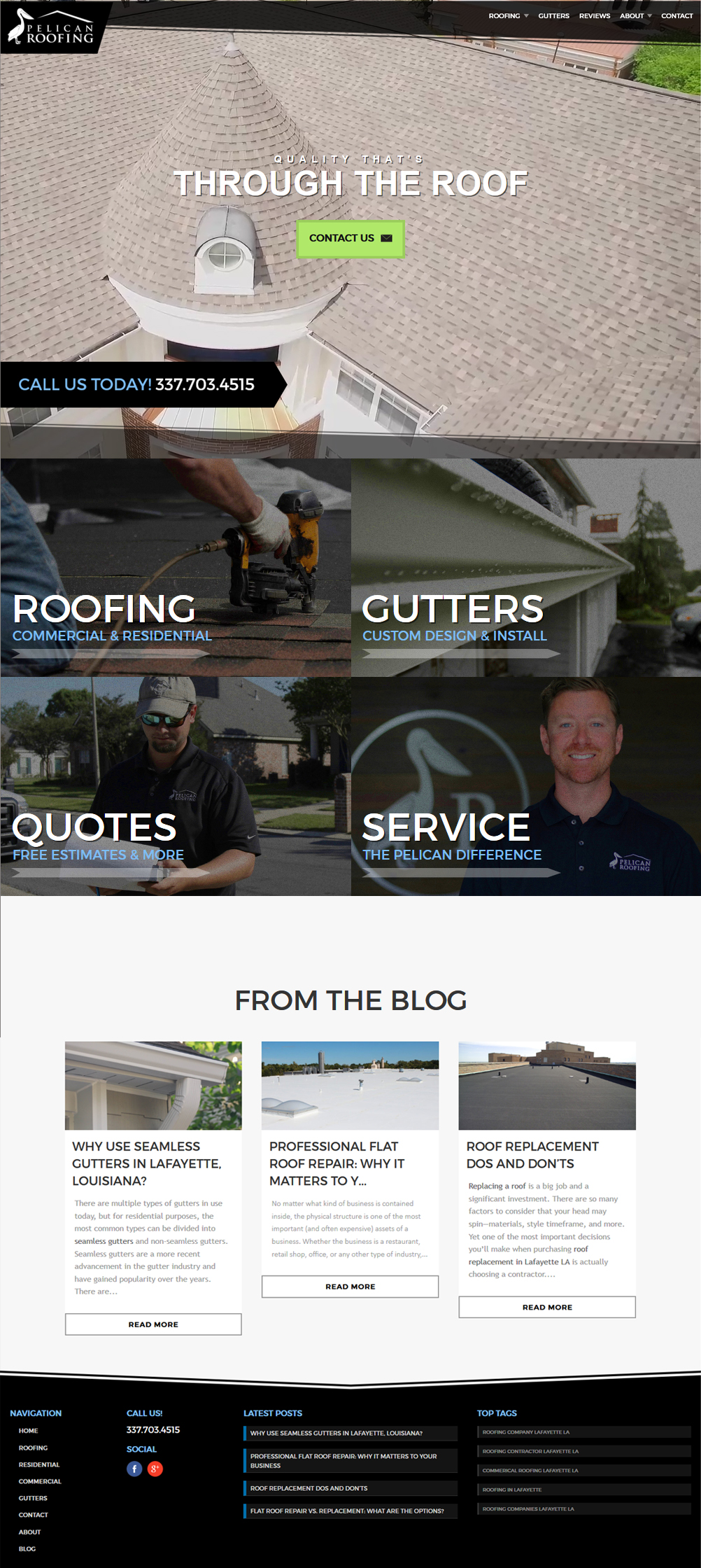 A roofing company web design screenshot for a company in Houston TX