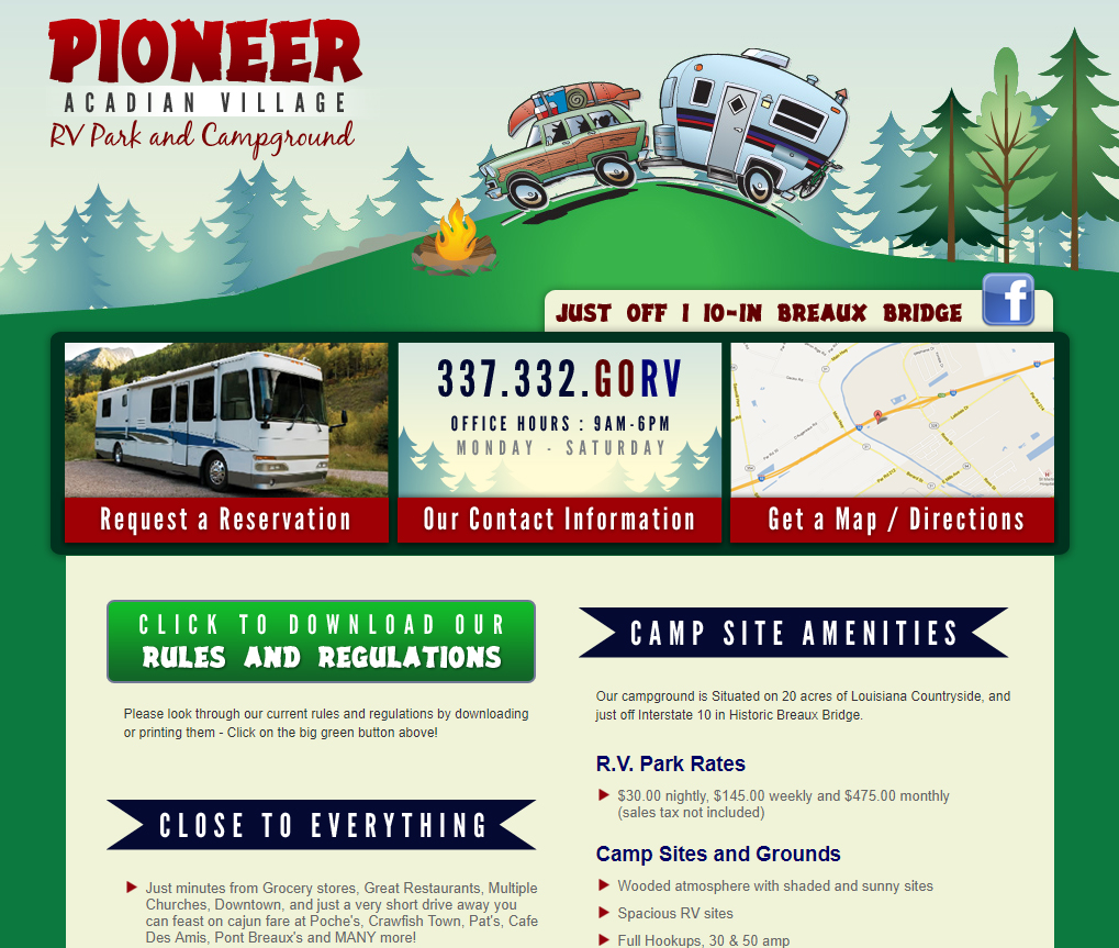 A campground rv park web design screenshot for a company in Houston TX