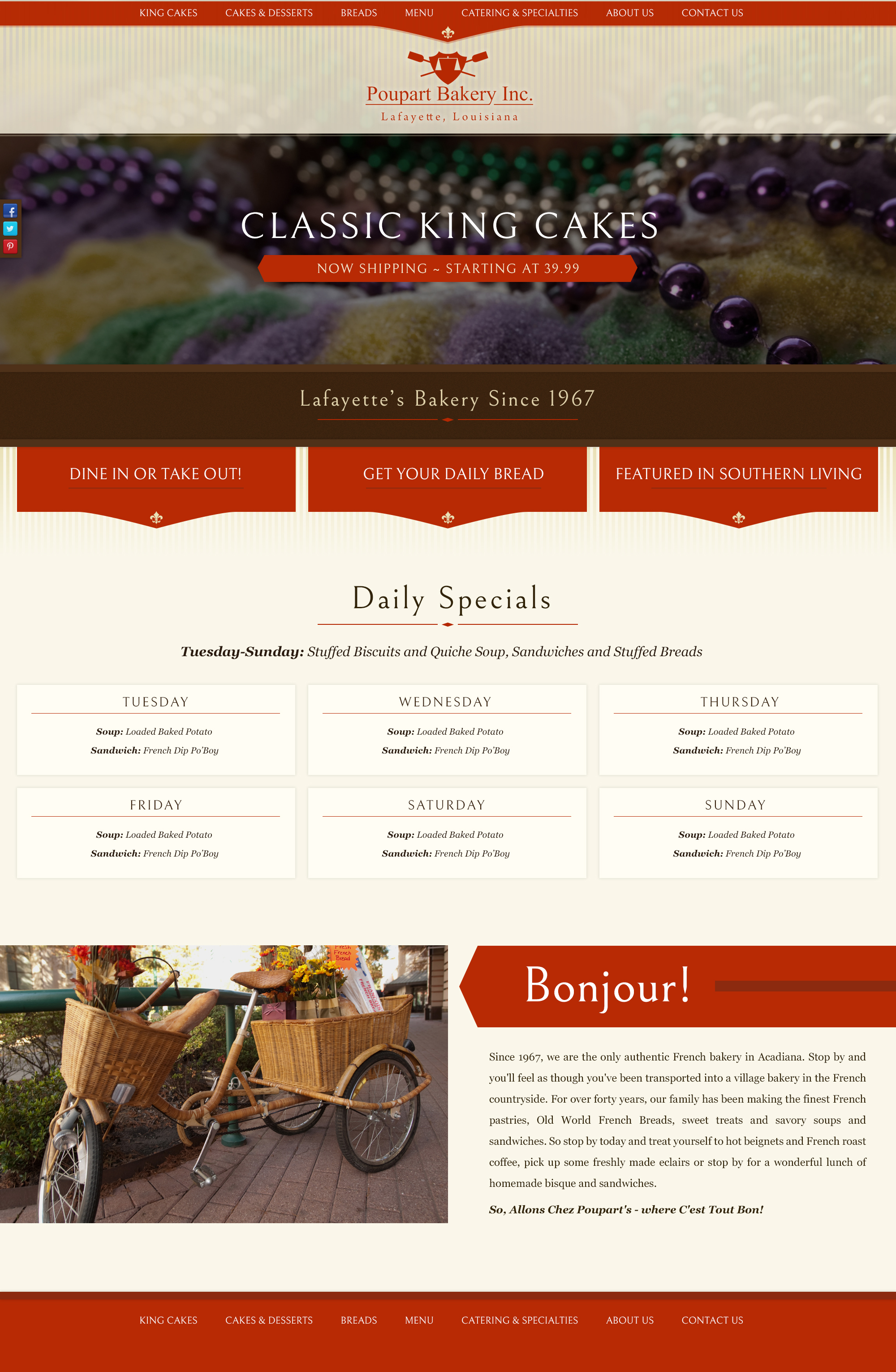 A french bakery web design screenshot for a company in Houston TX