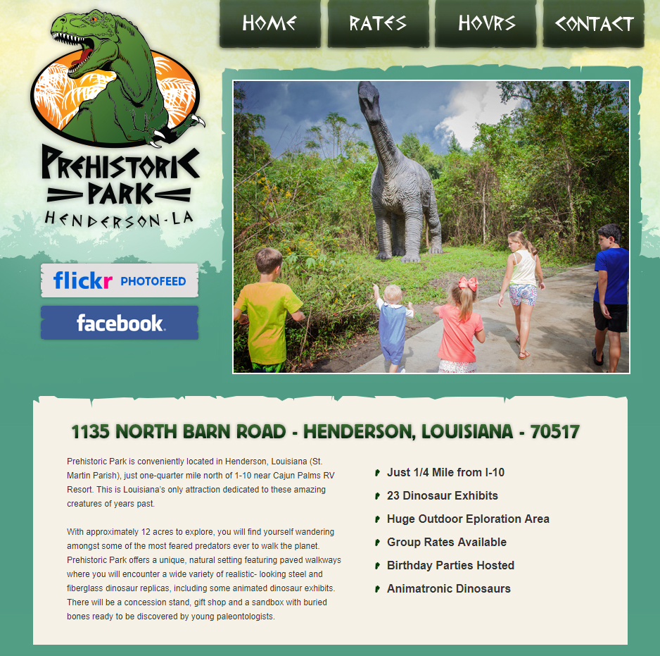A dinosaur park web design screenshot for a company in Houston TX