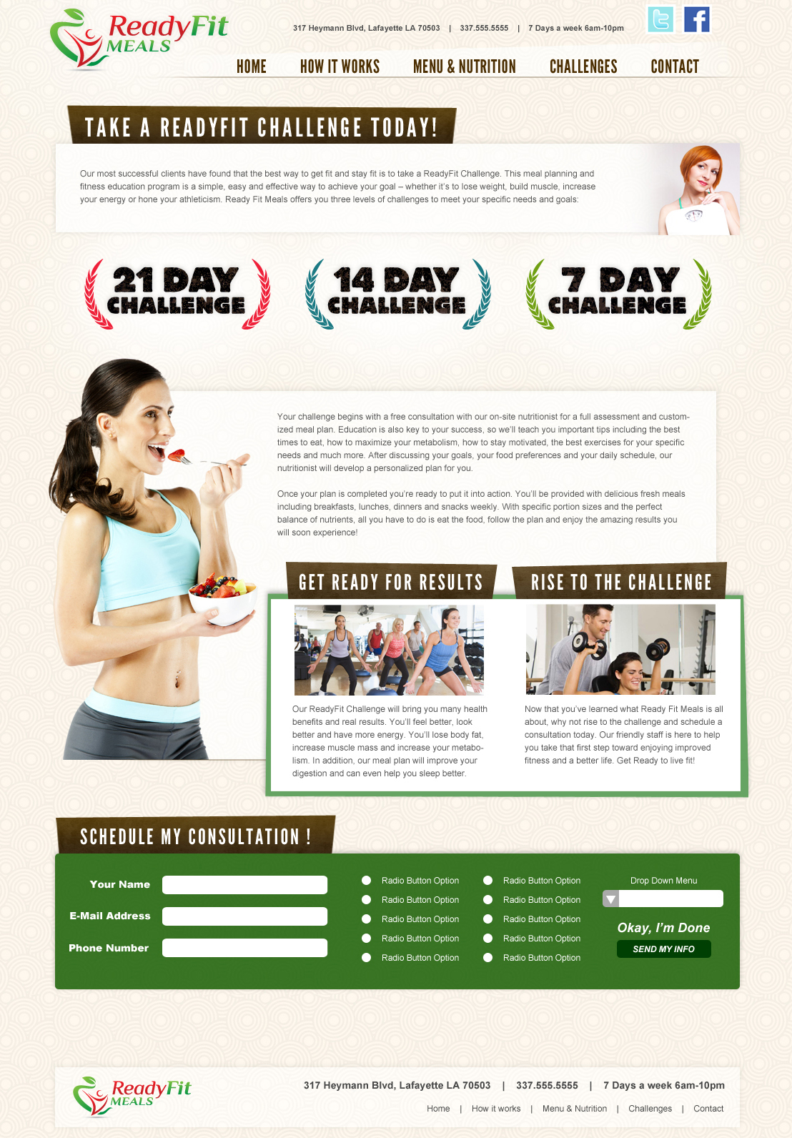 A fit meals restaurant web design screenshot for a company in Houston TX