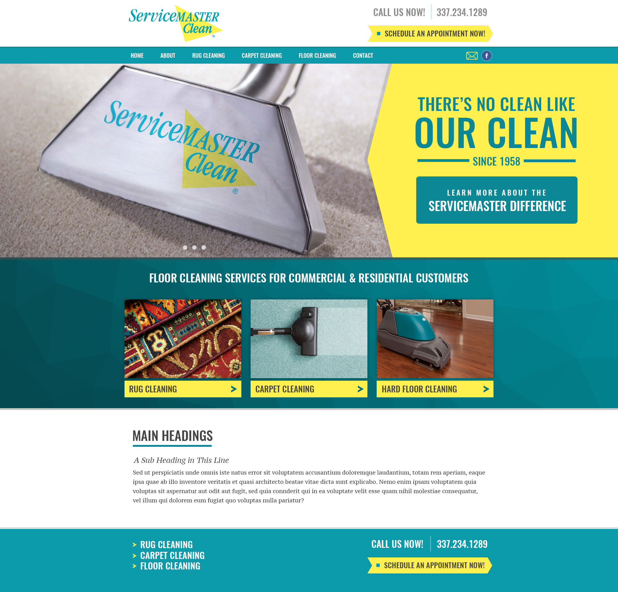 A janitorial service web design screenshot for a company in Houston TX