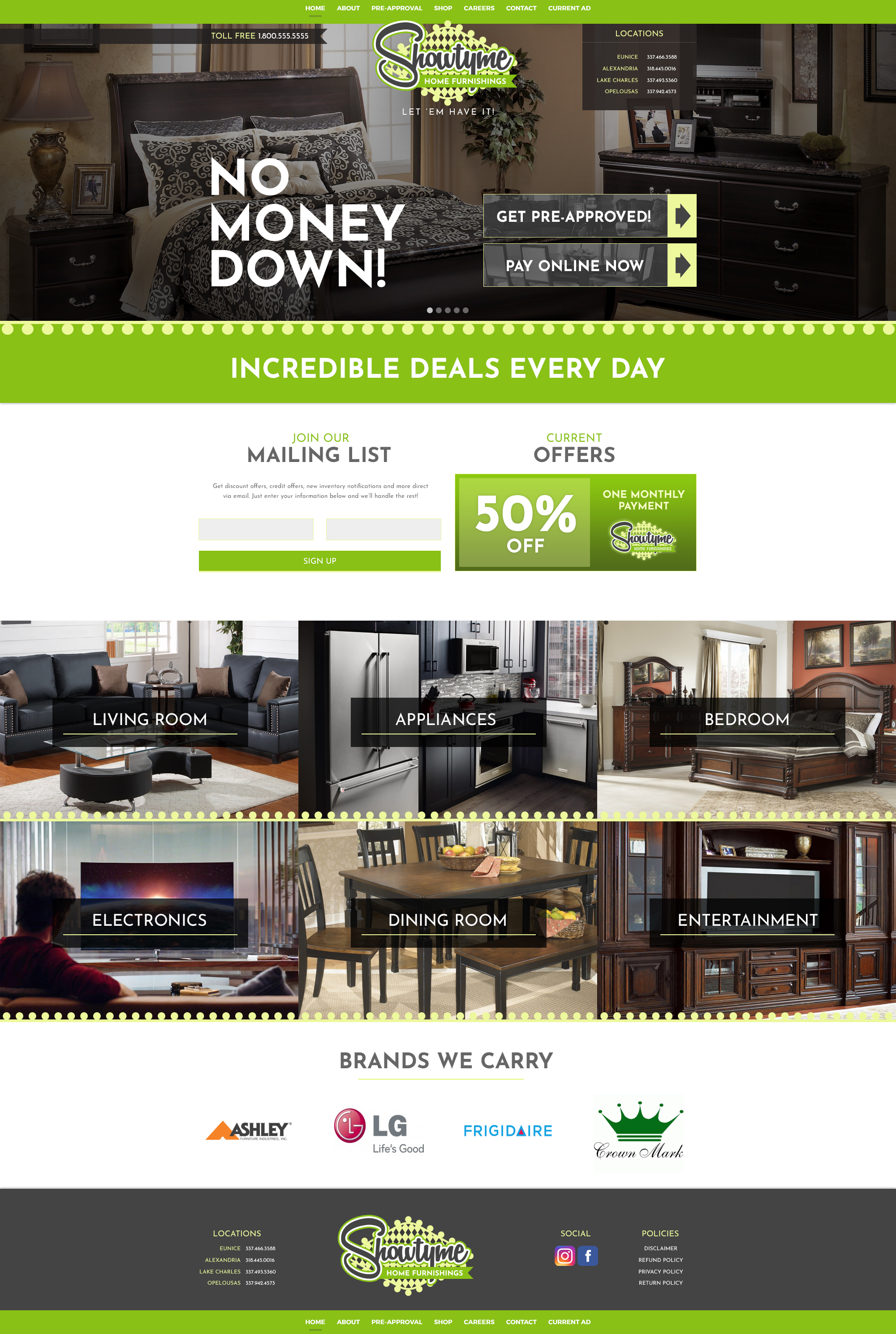A furniture store web design screenshot for a company in Houston TX