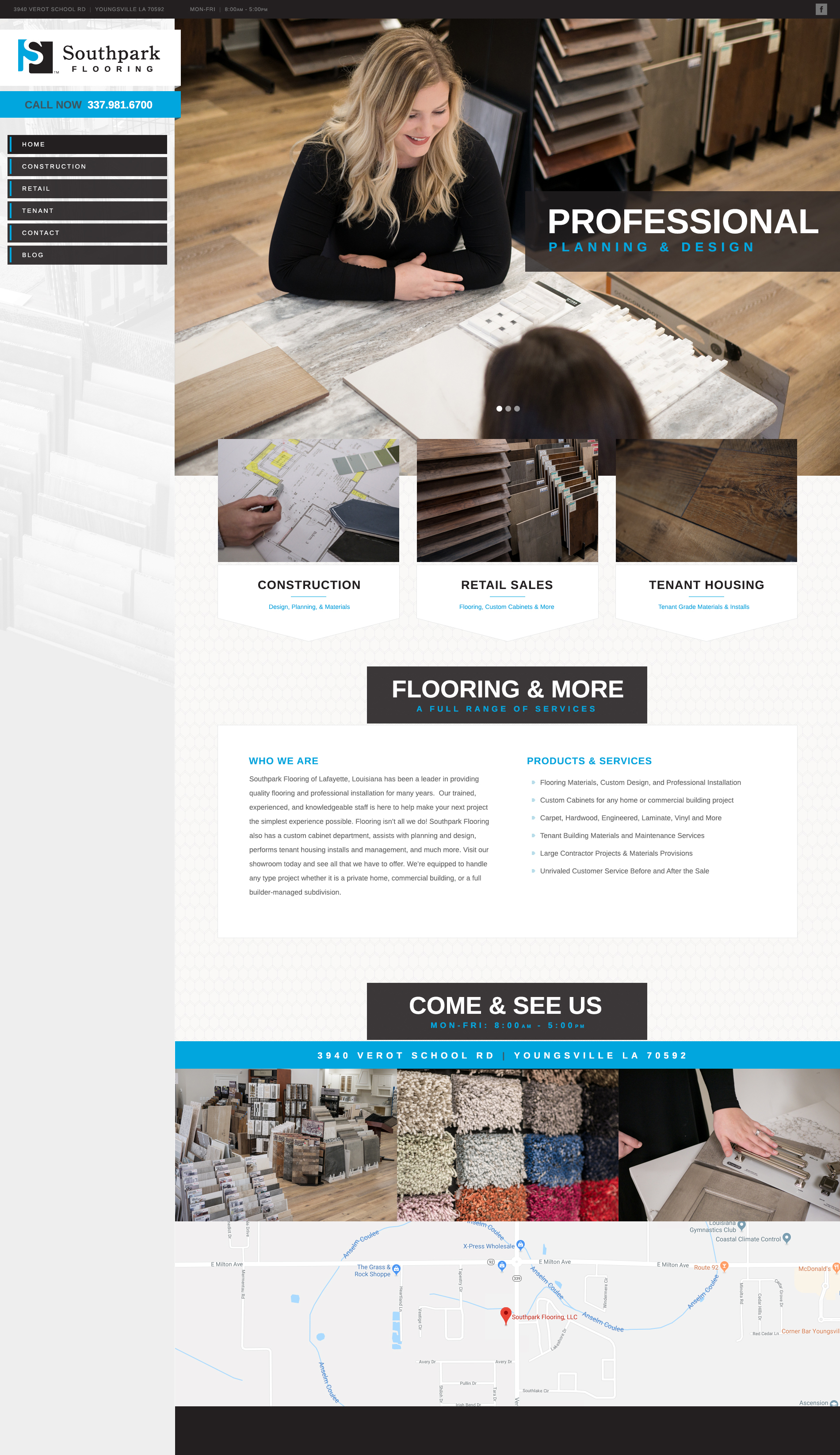A flooring store web design screenshot for a company in Houston TX