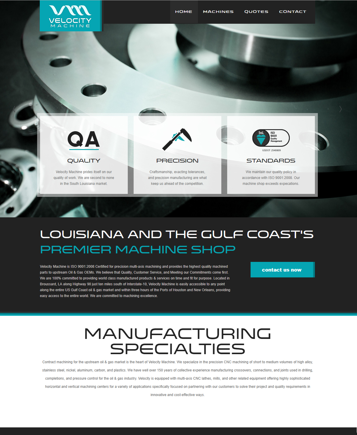 An oil and gas machine shop web design screenshot for a company in Houston TX